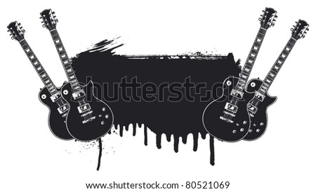 guitar battle with grunge background - stock vector