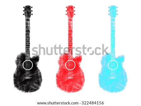 guitar black red blue sky abstract isolated  vector Illustration - stock vector