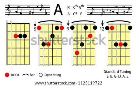 Guitar Chords Major Basic Chord Diagram Stock Vector 1123119722 ...