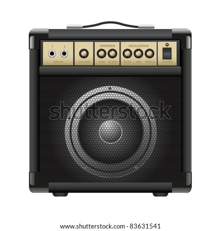 guitar combo isolated on a white background