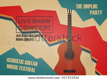 guitar contest poster, vintage and retro style - stock vector