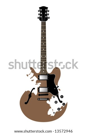 guitar electric with a decorative ornament