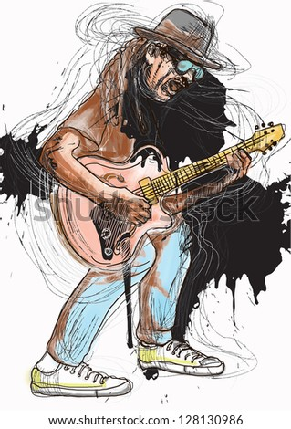 Guitar experience. Colored guitarist in expressive outlines and grungy spots. /// Vector description: contours in shades of gray and black, editable in 7 layers. - stock vector