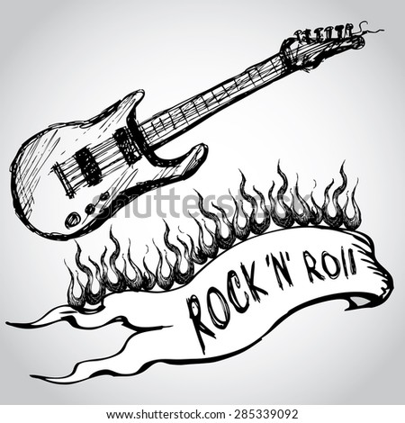 guitar, flames, rock and roll. Hand drawing. vector - stock vector