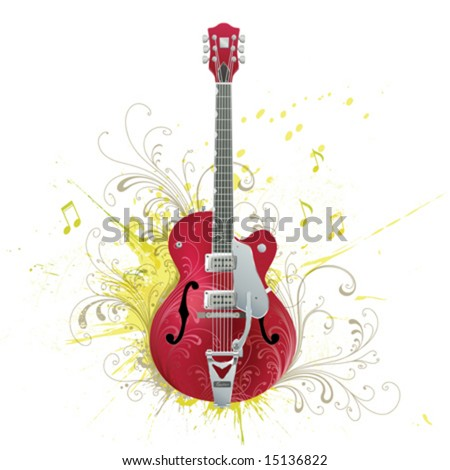 Guitar. Flowers, grunge elements on individual layers.