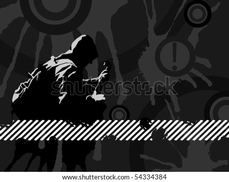guitar grunge background - stock vector