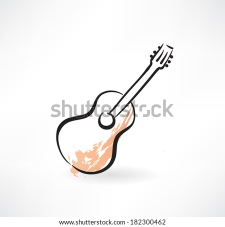 guitar grunge icon - stock vector