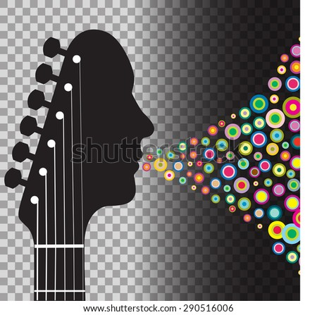 Guitar headstock man with circles - stock vector