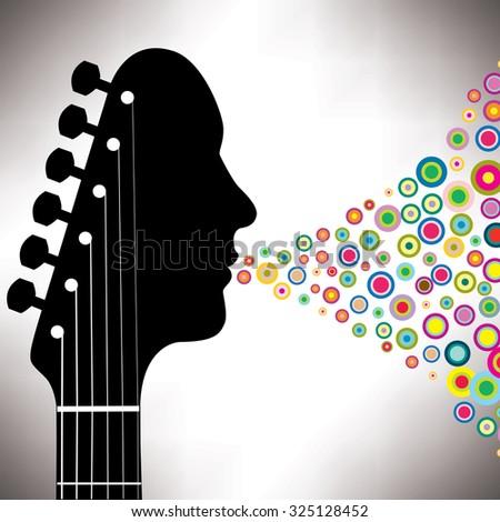 Guitar headstock man with circles  - stock vector