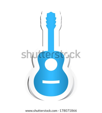 Guitar Icon with Paper Design.
