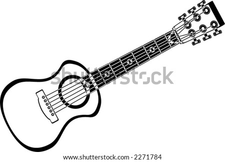 Guitar isolated over white. Musical instrument