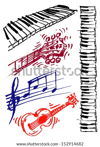 Guitar, keyboard, music, set of vector illustrations - stock vector