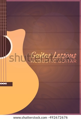 Guitar lessons, school. Vector flat illustration Music