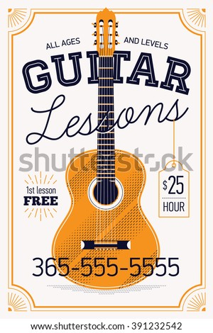 Guitar lessons vector poster or banner template with vintage feel. Musical education concept layout. Ideal for flyers, posters and advertisement - stock vector