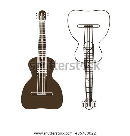 guitar logo, guitar vector, guitar icon, stringed musical instrument logo, stringed musical instrument vector, stringed musical instrument icon, guitars silhouette logo, guitars silhouette vector, - stock vector