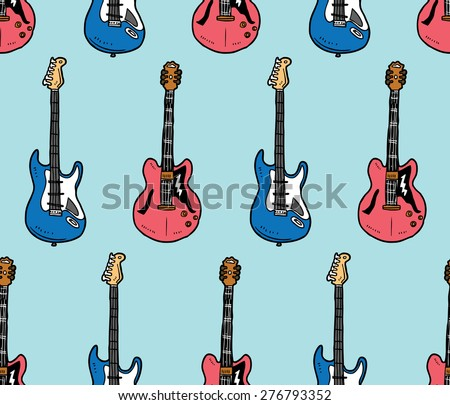 guitar pattern - stock vector