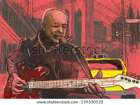 Guitar player  - A hand drawn illustration of an musician playing guitar on the street - Hand drawing converted into vector (8 layers). - stock vector