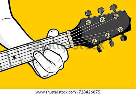 Guitar Player Hand Playing D Chord Stock Photo (Photo, Vector ...