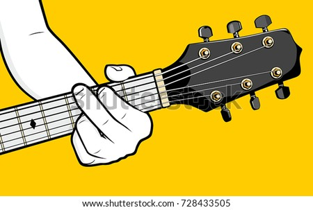 Guitar Player Hand Playing G Chord Stock Vector 728433505 - Shutterstock