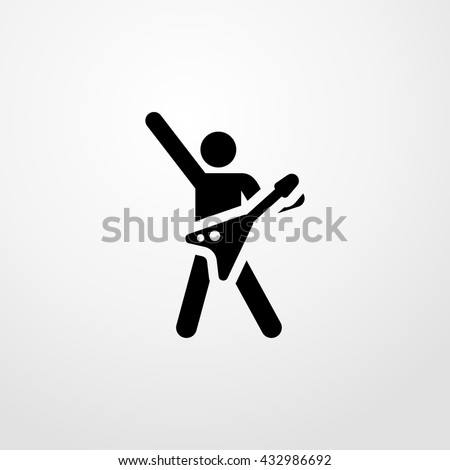guitar player icon. guitar player sign - stock vector