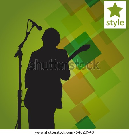 guitar player on the abstract background - stock vector