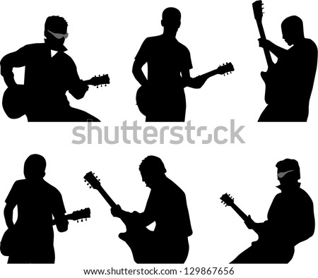 guitar player silhouette - stock vector