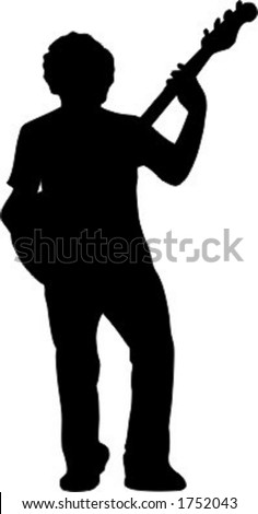 Guitar player silhouette - front view