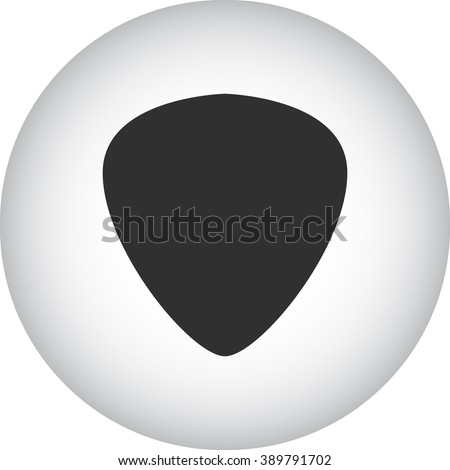 Guitar plectrum pick simple icon  on round background - stock vector