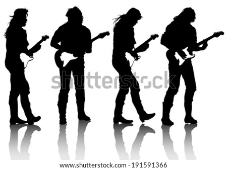 Guitar rock band on a white background