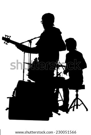 Guitar rock band on a white background - stock vector