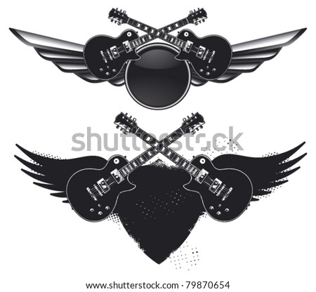 guitar shield in two models - stock vector