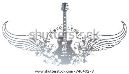 guitar shield with hibiscus stamp mark and wings - stock vector