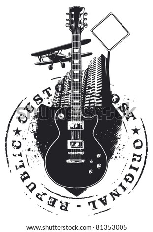 guitar shield with stamp city and plane - stock vector