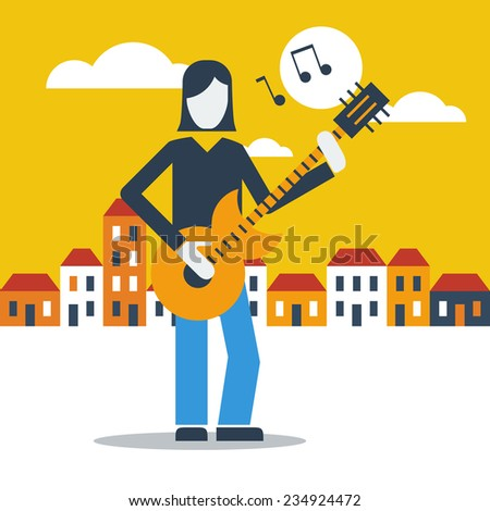 guitar street performer - stock vector