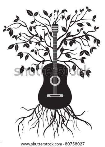 guitar tree - stock vector