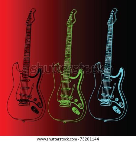 guitar vector - stock vector
