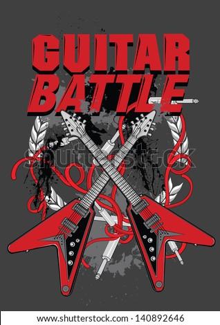 guitar vector artwork for poster - stock vector