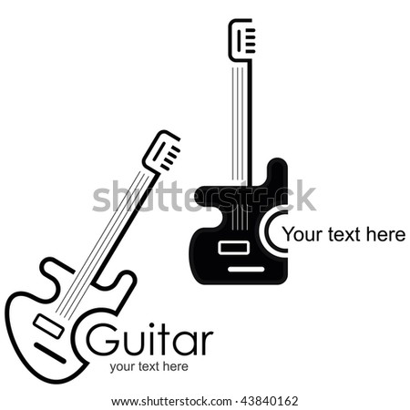 Guitar - vector stylized icon. Design element. - stock vector