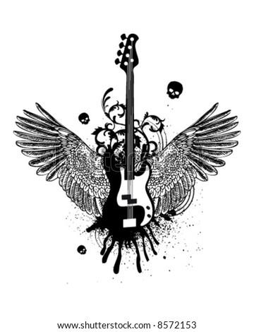 Guitar Wings - stock vector