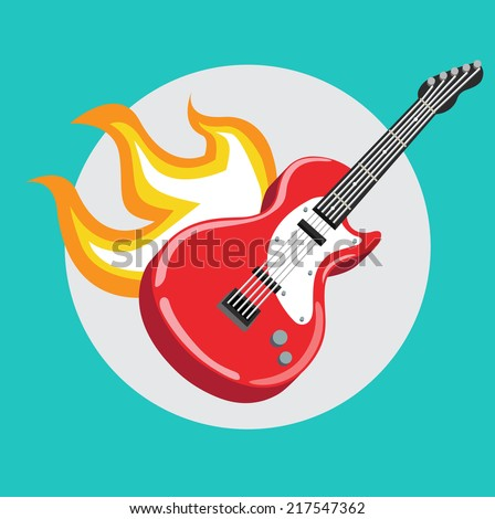 guitar with flames flat icon design - stock vector