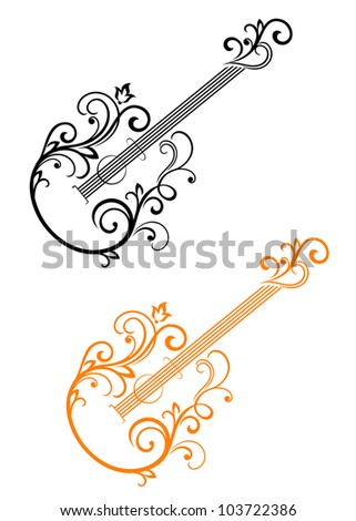 Guitar with floral elements in retro style for musical design. Jpeg version also available in gallery - stock vector