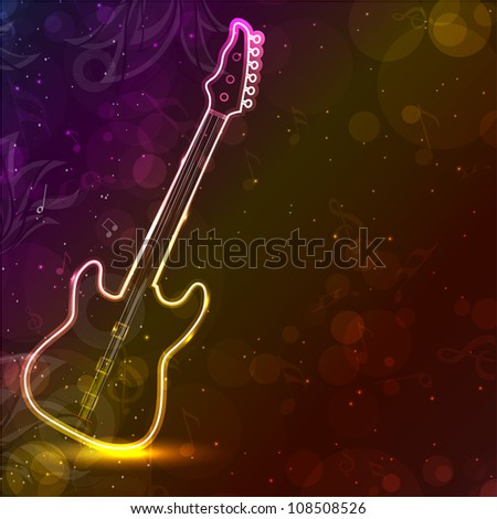 Guitar with neon lights on colorful grungy background. EPS 10. - stock vector