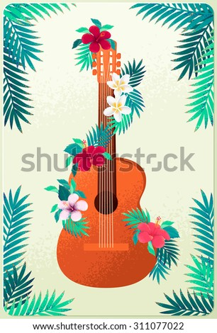 Guitar with plumeria and hibiscus flowers, palm leaves garland. Concept for beach party, open air festival, hippie or ethnic music concert. Poster, invitation, flyer. Place for your text - stock vector