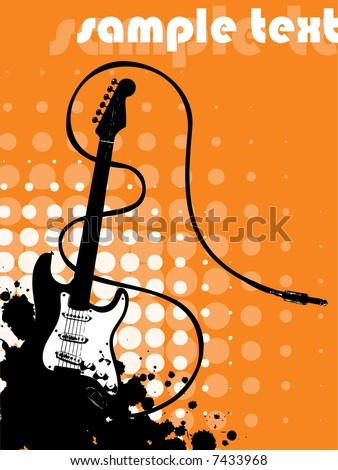 guitar with sample text - stock vector