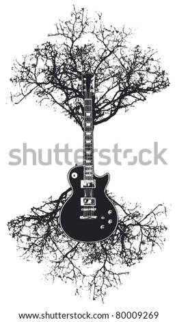 guitar with tree and roots - stock vector