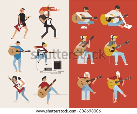 guitarist character vector illustration flat design