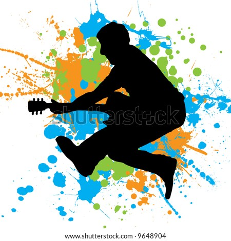 Guitarist jumping in the air with paint splats as a background - stock vector