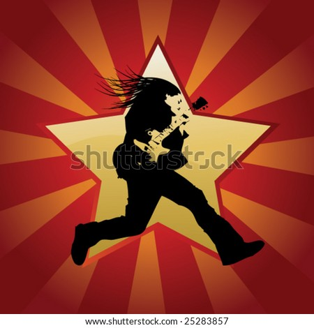 guitarist jumps - stock vector