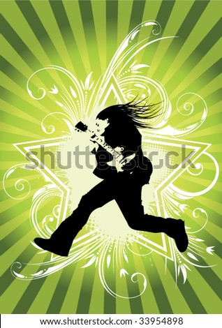 guitarist jumps on floral background - stock vector
