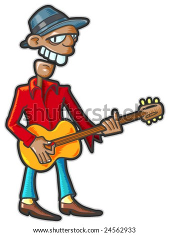 Guitarist. Vector illustration without gradients and transparencies.